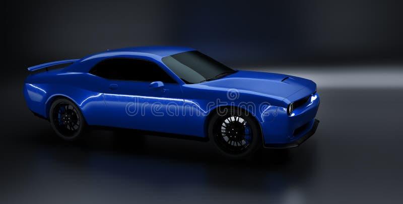 一块普通蓝色brandless美国肌肉加州的前面角度图 向量例证
