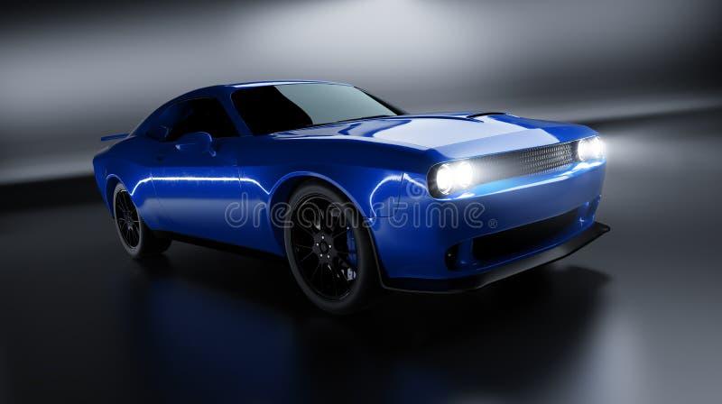 一块普通蓝色brandless美国肌肉加州的前面角度图 皇族释放例证