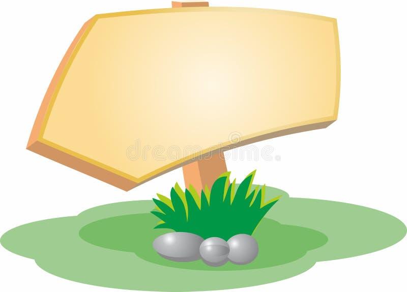 一块木标志、草和石头的传染媒介图象 皇族释放例证