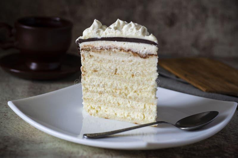 一块美味的蛋糕,白色奶油和巧克力放在白盘上 盘子上的海绵蛋糕 库存照片