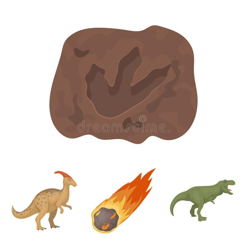 一块落的陨石, parasaurolophus,暴龙,一只恐龙` s脚的版本记录 恐龙和史前期间 向量例证