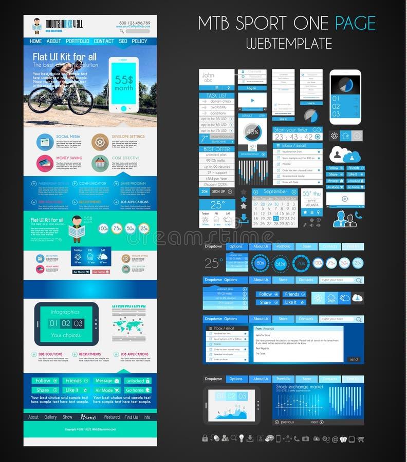 一块页体育网站平的UI设计模板 向量例证