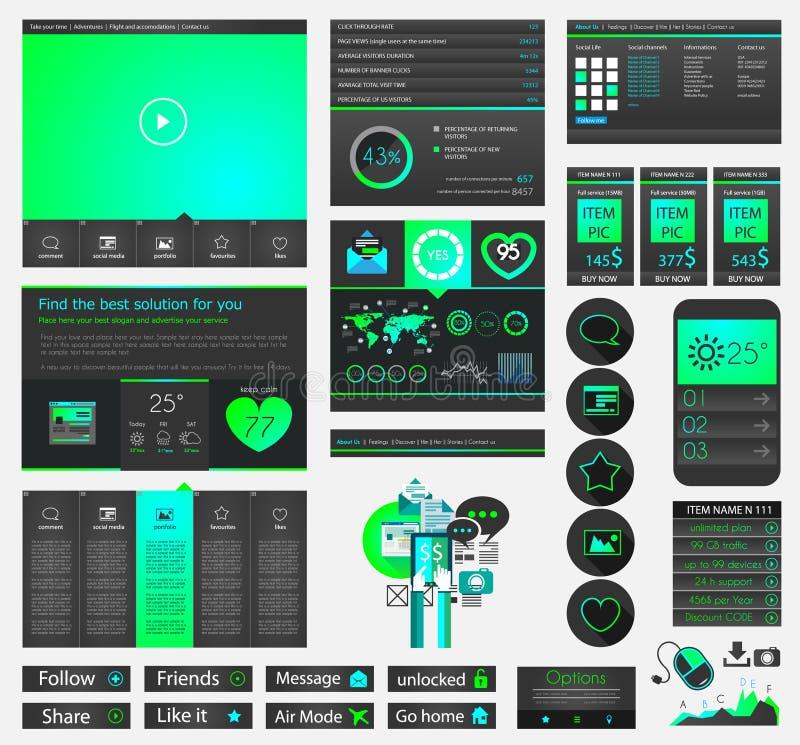 一块页网站平的UI设计模板 皇族释放例证