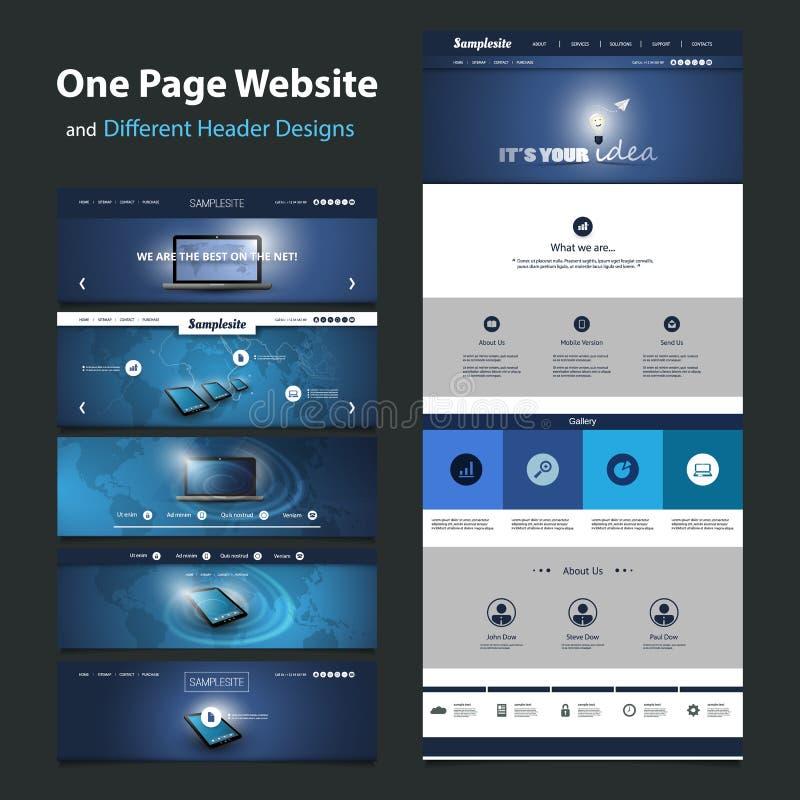 一块页网站模板和不同的倒栽跳水设计 向量例证