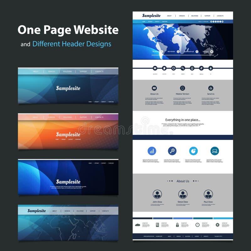 一块页网站模板和不同的倒栽跳水设计 皇族释放例证