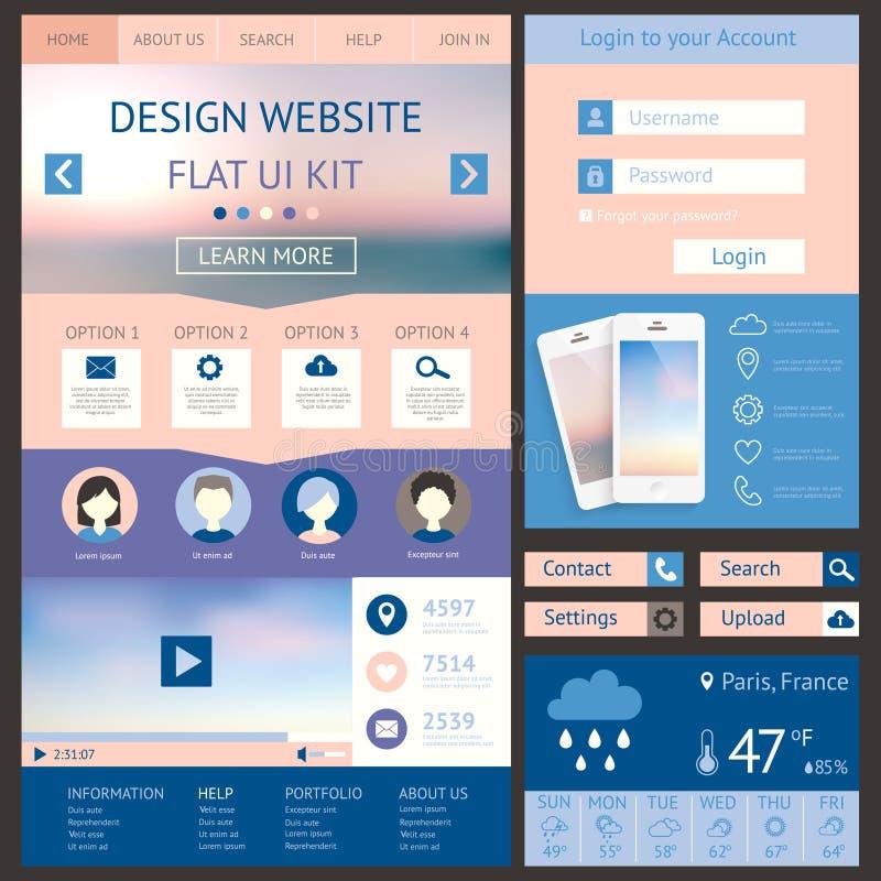 一块页网站设计模板,平的ui成套工具 碱性 库存例证