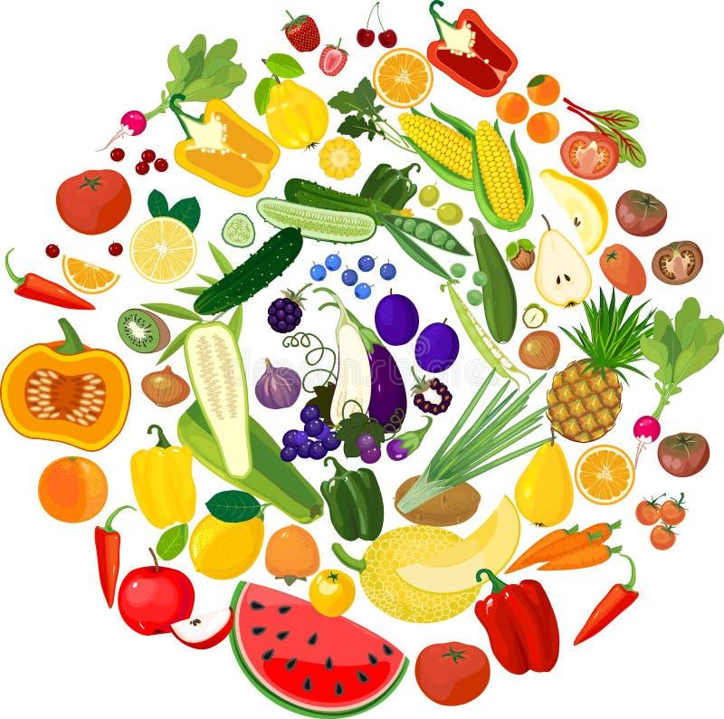 一大套不同熟的水果和蔬菜 免版税图库摄影