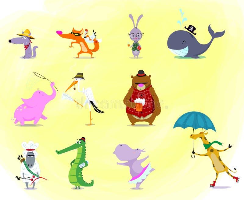 一大群可爱的卡通动物:鳄鱼,兔子,熊,河马,长颈鹿,羊,大象,狼,鲸鱼,狐狸,鹳 库存例证