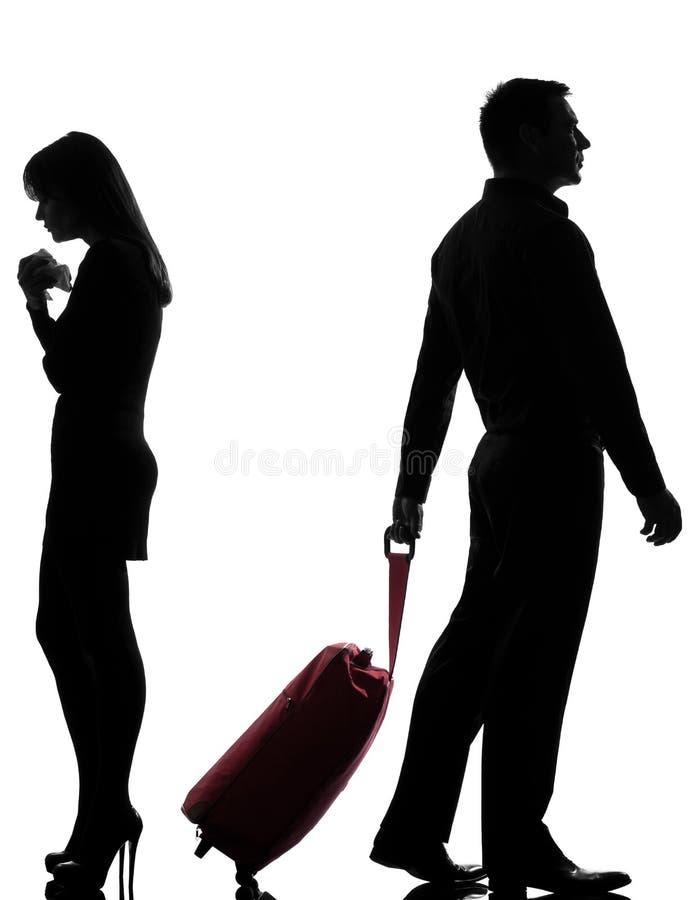 一夫妇男人和妇女争执分离 库存图片
