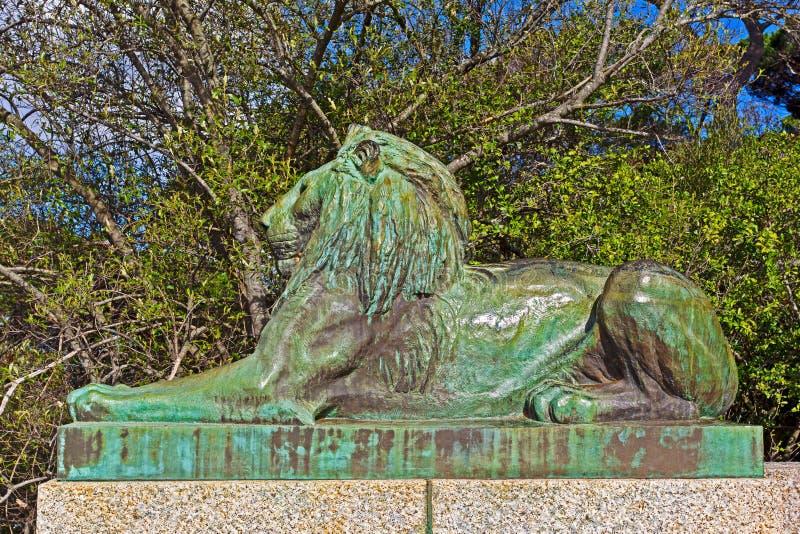 一头公狮子的古铜色雕象 库存图片