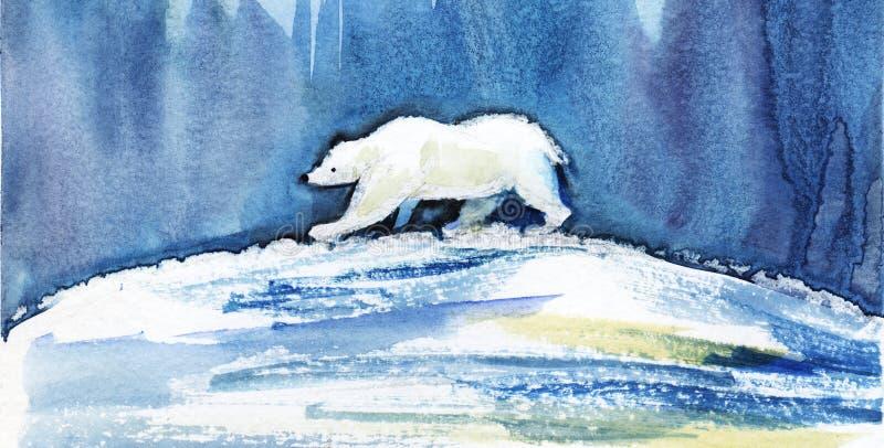 一头北极熊横跨地球走反对北极光的背景 手拉的水彩例证 向量例证