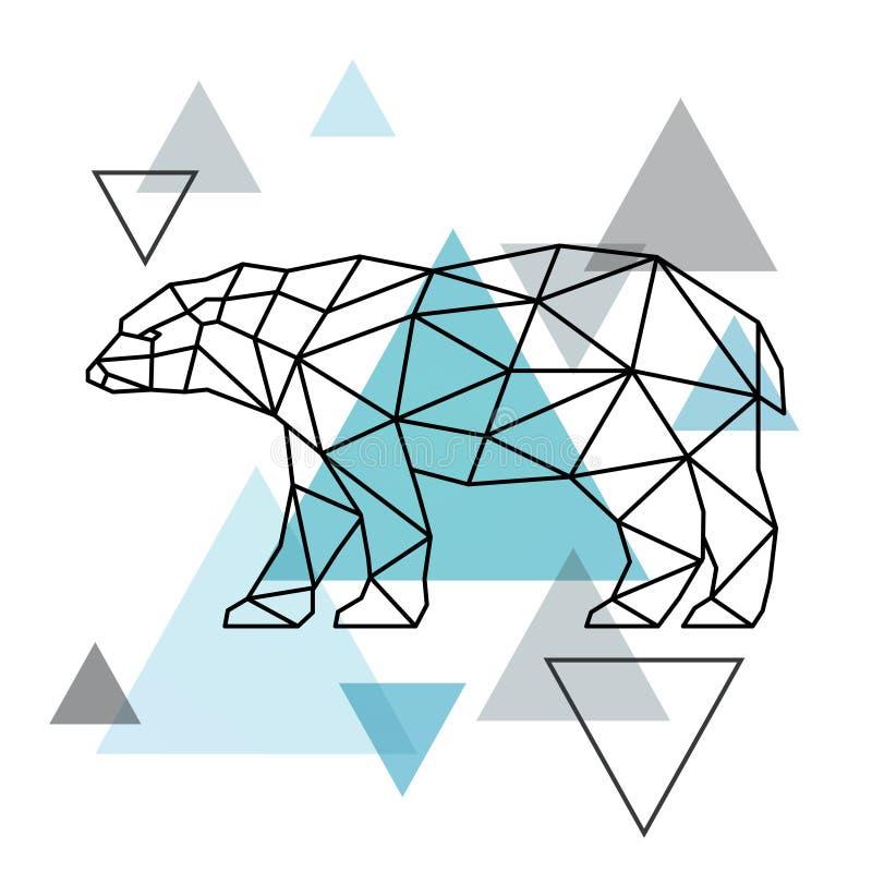 一头北极熊的几何剪影 向量例证