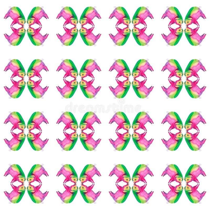 一头多彩多姿的猪的抽象水彩例证 背景查出的白色 无缝的模式 向量例证