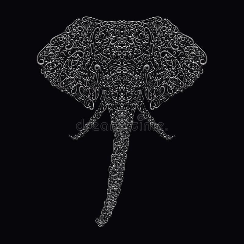 一头大象的装饰头从容量银色卷毛的在a 皇族释放例证