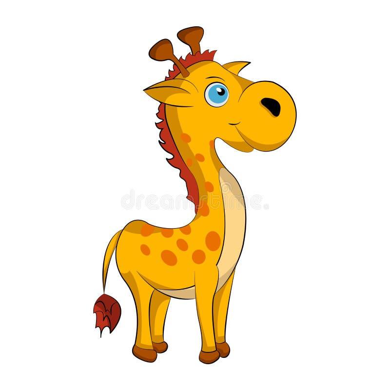 一头小和快乐长颈鹿的逗人喜爱的动画片 皇族释放例证