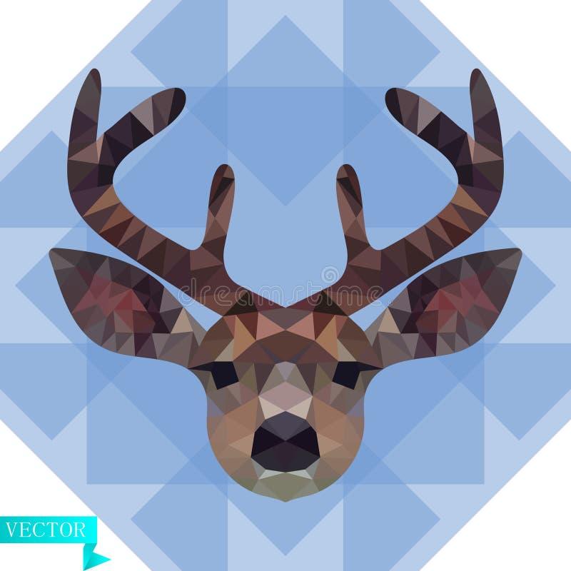 一头幼小鹿的多角形头在颜色的 以蓝色,透明三角为背景 向量例证