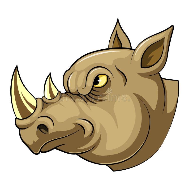 一头恼怒的犀牛的吉祥人头 皇族释放例证