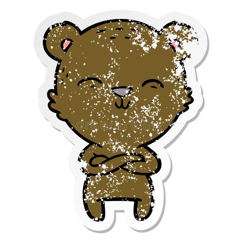 一头愉快的确信的动画片熊的困厄的贴纸 库存例证