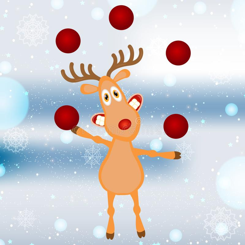 一头滑稽的动画片圣诞节驯鹿 r 库存例证