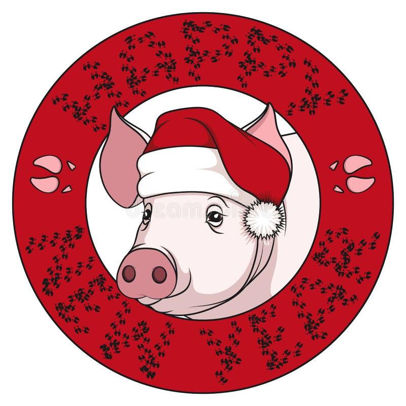 一头猪的颜色图画在一个新年的盖帽和题字的与从轨道的祝贺 也corel凹道例证向量 皇族释放例证