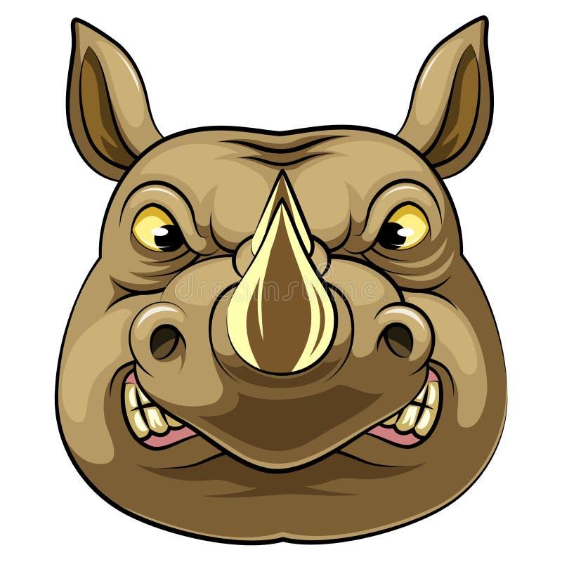 一头积极的犀牛的吉祥人头 库存例证