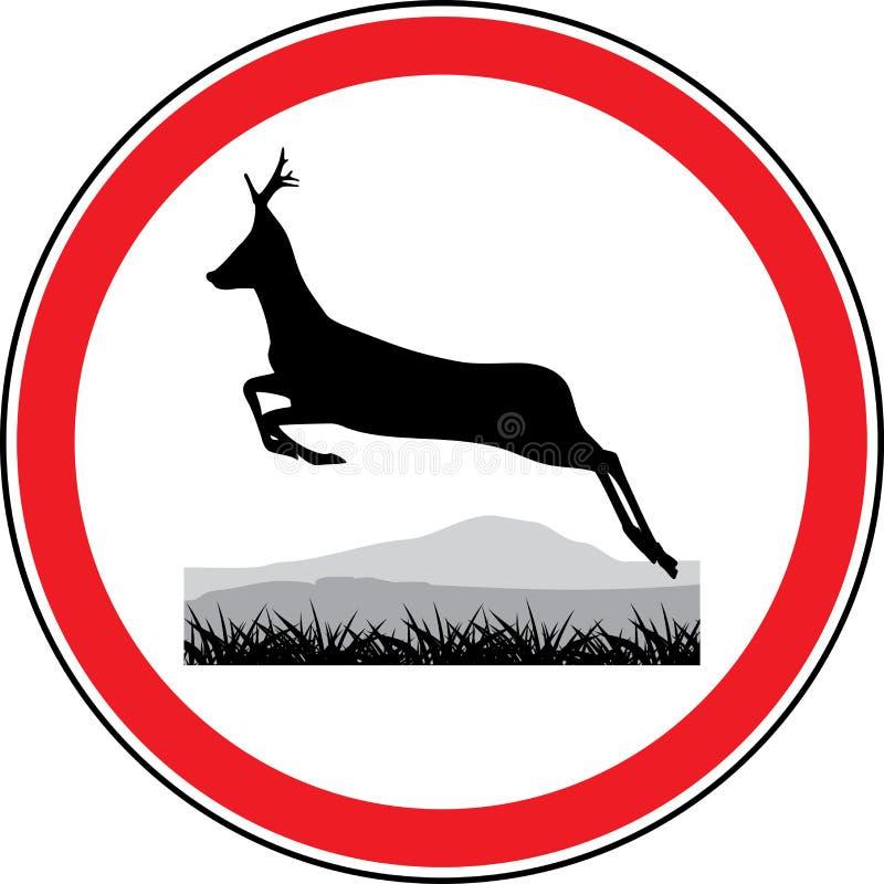 一头连续鹿的剪影。 路标 皇族释放例证