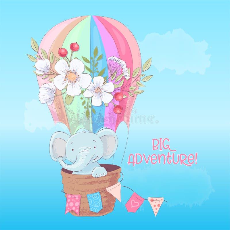 一头逗人喜爱的大象的明信片海报在一个气球的有在动画片样式的花的 E 皇族释放例证