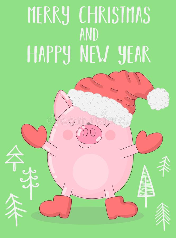 一头逗人喜爱的猪的传染媒介例证在冬季衣服和圣诞树的在绿色背景 图象新年,印刷品,禁令 向量例证