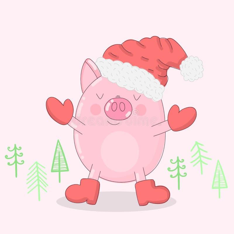 一头逗人喜爱的猪的传染媒介例证在冬季衣服和圣诞树的在轻的背景 图象新年,印刷品,禁令 皇族释放例证