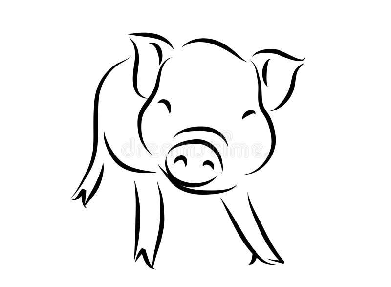 一头逗人喜爱的猪的线描,年猪线性样式和手拉的传染媒介例证,字符设计概述汇集,加州 库存图片