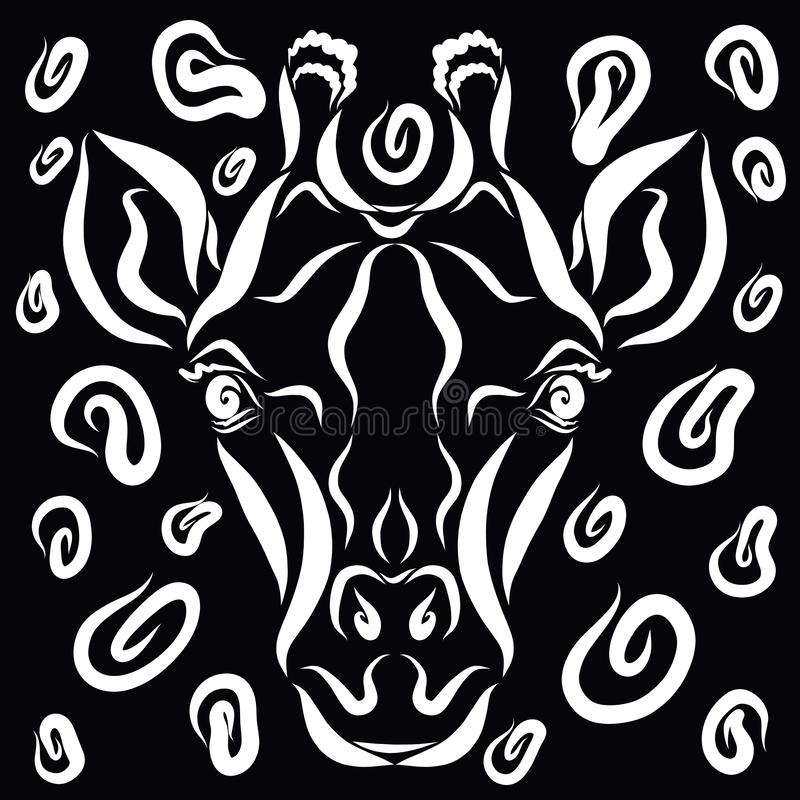 一头逗人喜爱的长颈鹿的头和在它附近的斑点,黑背景 向量例证