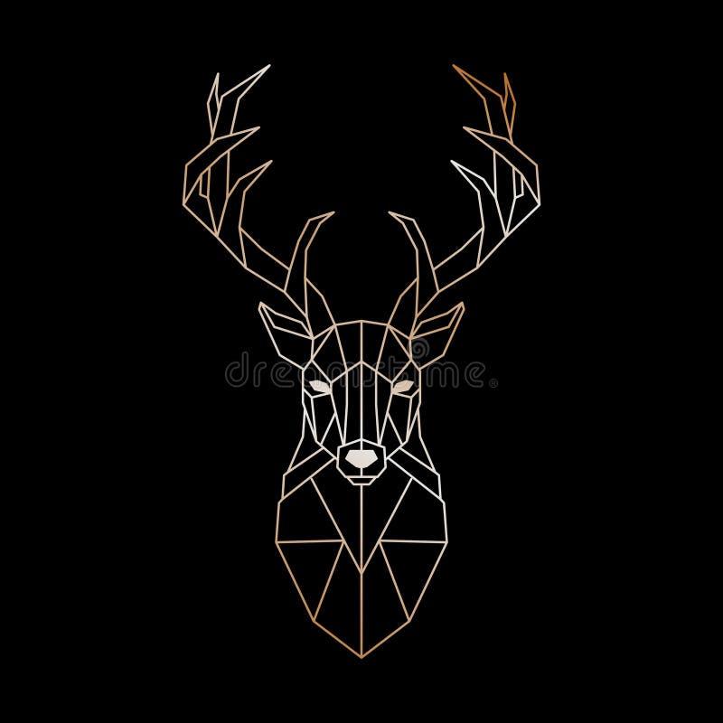 一头野生鹿的几何头 在黑背景的抽象金鹿剪影 库存例证