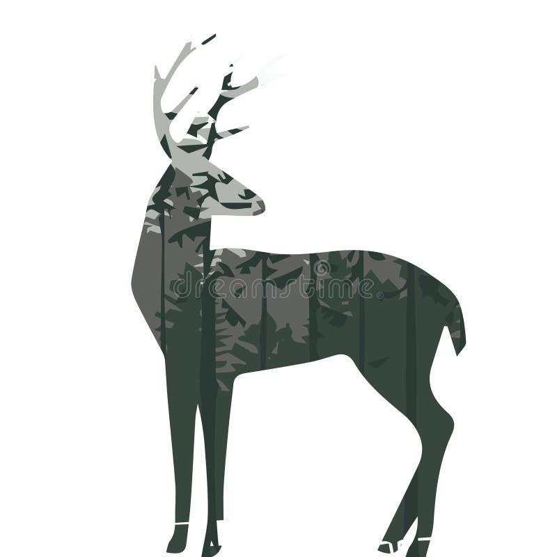 一头鹿的剪影与杉木森林的 库存例证