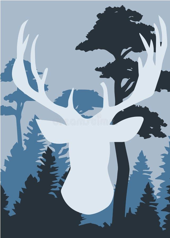 一头鹿的剪影与杉木森林的 皇族释放例证