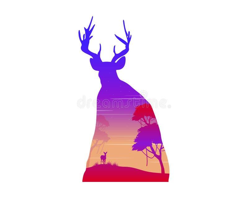 一头鹿的剪影在日落风景的 皇族释放例证