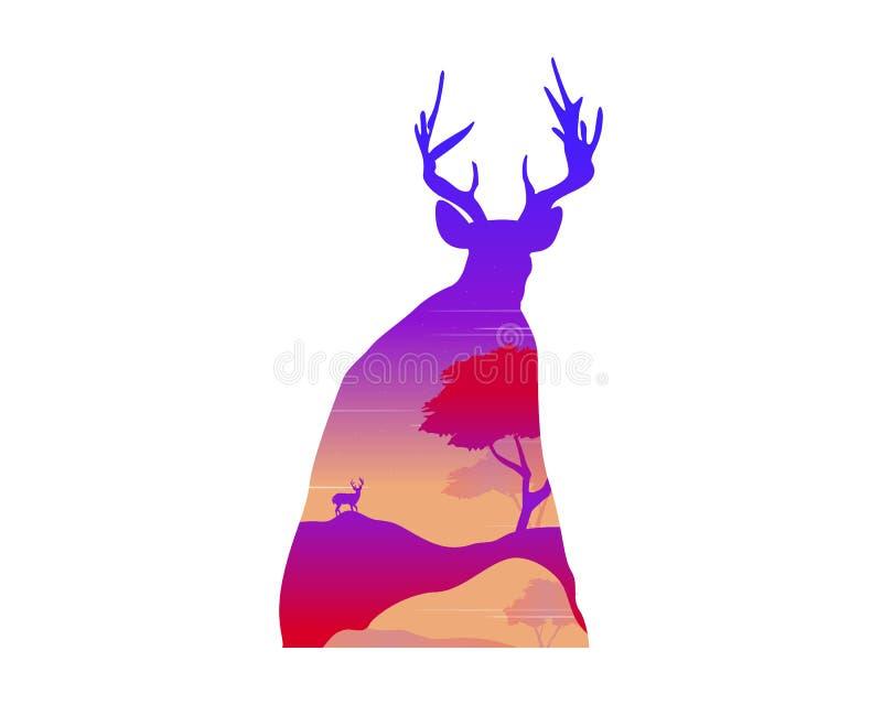 一头鹿的剪影在日落风景的 库存例证