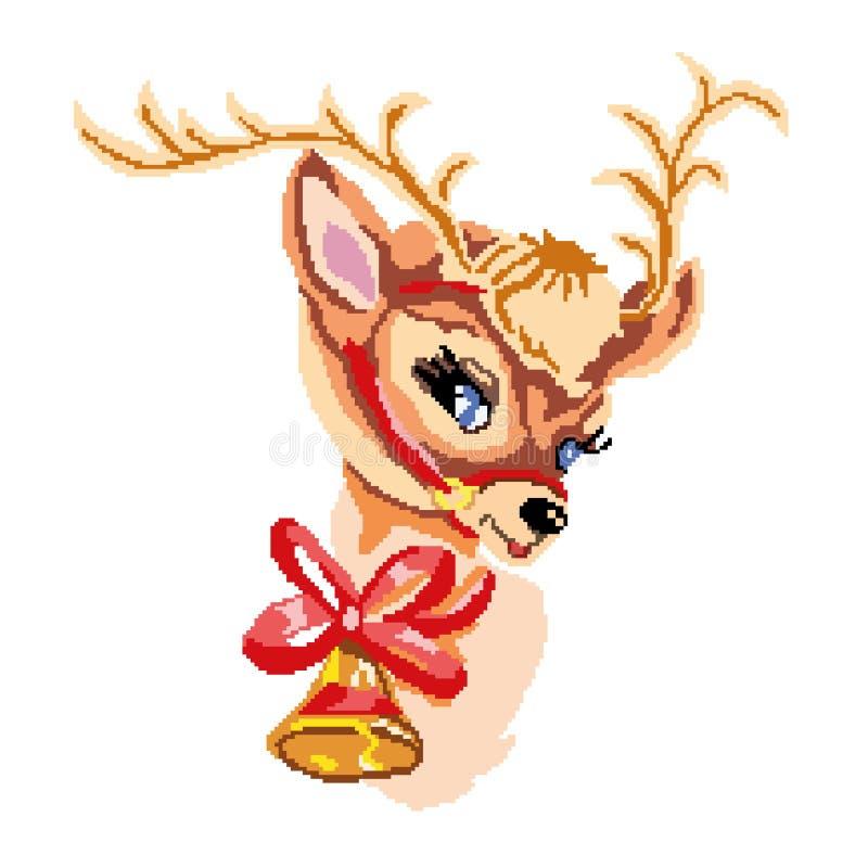 一头鹿的头与响铃和弓的,画被正方形,映象点 看板卡招呼的新年度 也corel凹道例证向量 库存例证
