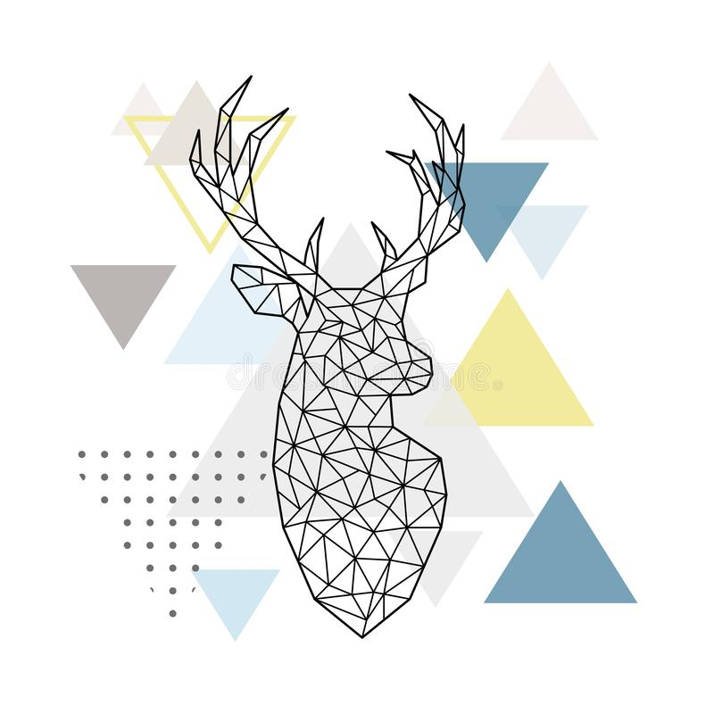 一头鹿的抽象几何剪影在简单的三角背景的 皇族释放例证