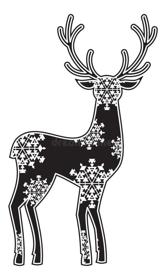 一头鹿的美丽的剪影与大垫铁的 向量例证