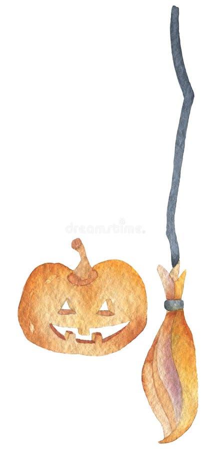 一套一个橙红南瓜的两个元素和橙红笤帚 愉快的万圣节聚会 手图画水彩被隔绝的夹子 库存例证