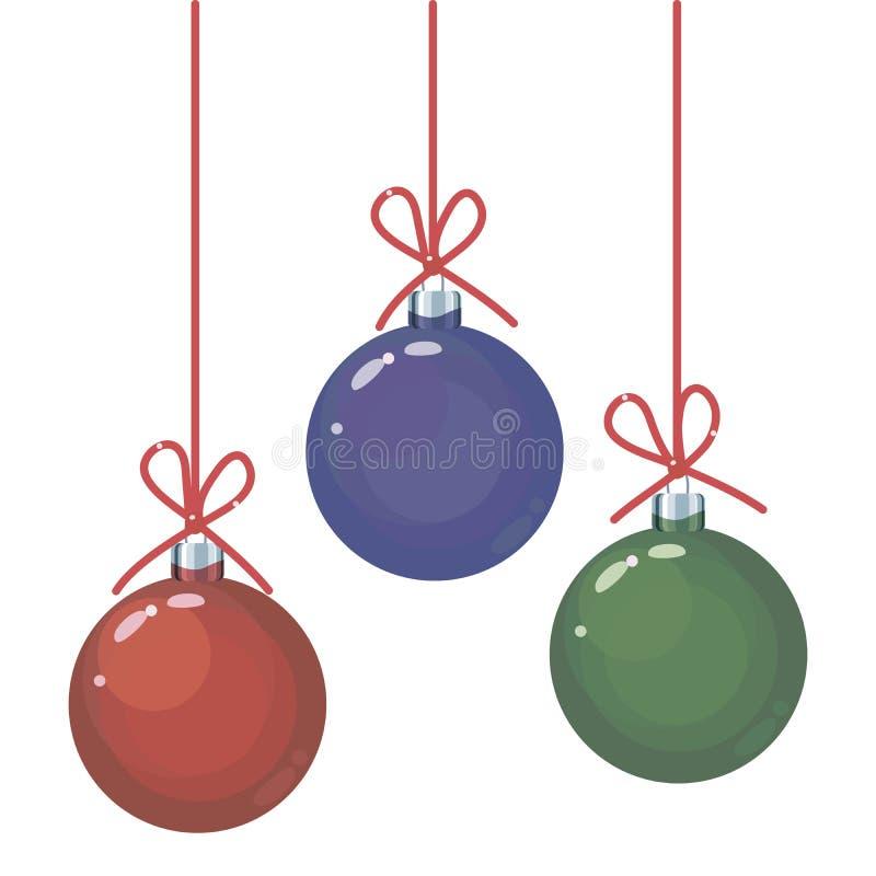 一套三上色了在红色长的螺纹的红色,绿色和蓝色玻璃圣诞节球与在白色隔绝的对象弓  向量例证