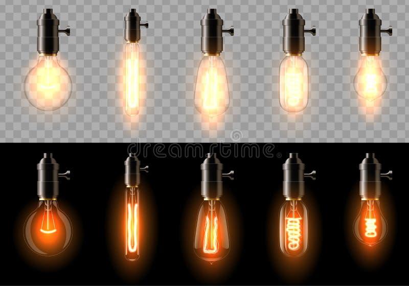 一套不同的形状老,经典,减速火箭的白炽电灯泡  在透明和黑背景 皇族释放例证