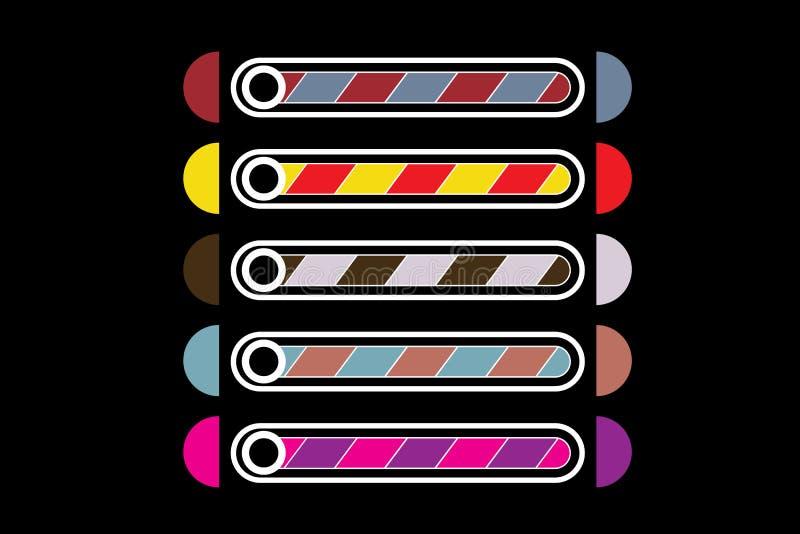 一套不同的颜色下载五条带  向量例证