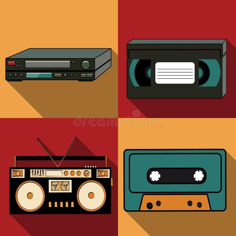 一套与一个长的阴影从老减速火箭的葡萄酒行家古董电子,录音机的四个简单的平的样式象 库存例证