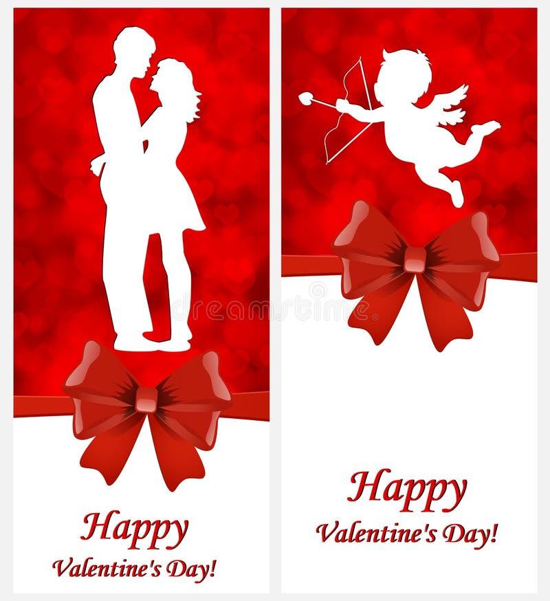 一套与丘比特的情人节卡片和在爱的一对夫妇 向量例证