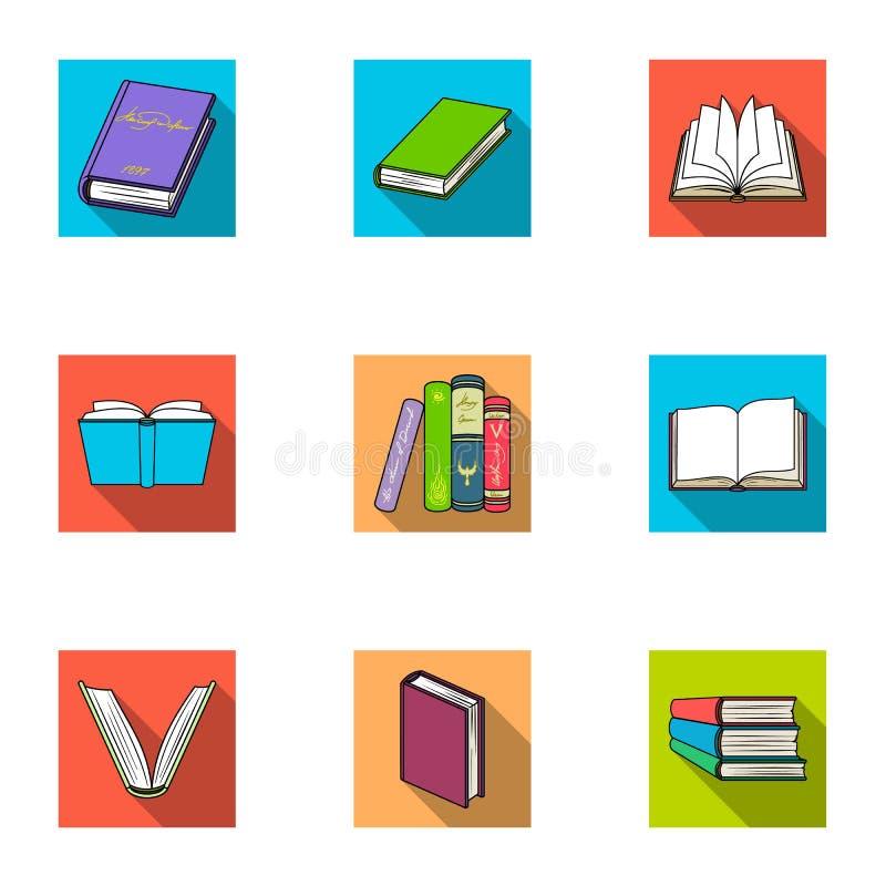 一套与书的图片 书,笔记本,学习 预定在集合汇集的象在平的样式传染媒介标志股票 向量例证