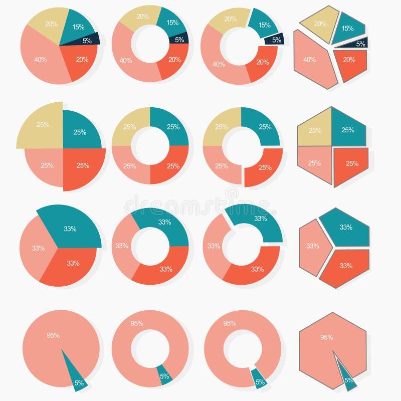 一套与兴趣价值的16张多彩多姿的图 infogra 库存例证