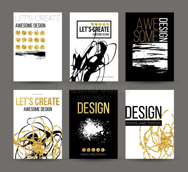 一套与金黄手拉的设计元素的小册子 导航小册子模板,海报,飞行物,品牌 金黄 皇族释放例证