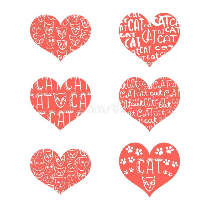 一套与题字的红色心脏关于爱和面孔 库存例证