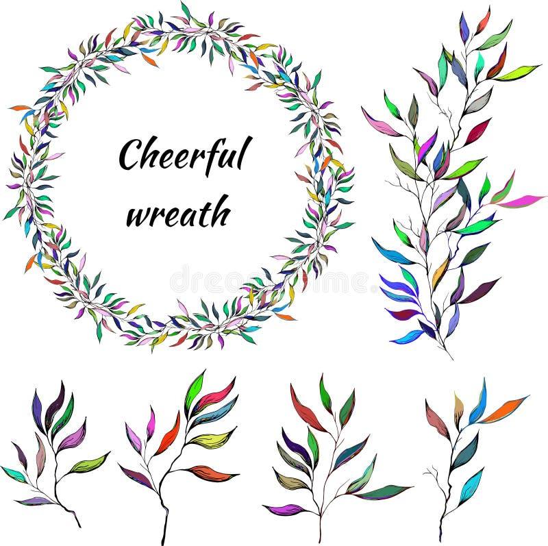 一套与lity的五颜六色的分支 叶子传染媒介花圈  快乐的儿童的样式 装饰的卡片传染媒介刷子, 库存例证